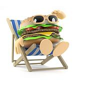 3d Beefburger relaxes in a deckchair