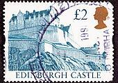 Cancelled Postage Stamp Edinburgh Castle, Scotland Hilltop Fortress Wall