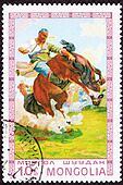 Canceled Mongolian Postage Stamp Man Breaking Wild Horse Bucking Bronco