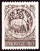 Canceled Swedish Postage Stamp Carving Wooden Door St. Stephen,