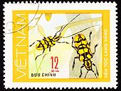 Canceled Vietnam Postage Stamp Pair Yellow Beetles Antenna On Pl