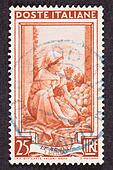 Drawing Woman Sorting Fruit, Used Italian Stamp, Cancelled Cancellation