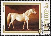 Canceled Soviet Russia Postage Stamp Painting White Horse Nikola