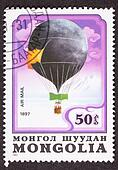 Mongolian Balloon Air Mail Postage Stamp Historic Flight Sweden 1897