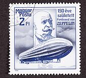 Hungarian Air Mail Stamp commemorating the 150th anniversary of Count Ferdinand von Zeppelin's birth