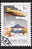 Hungarian Graf Zeppelin Air Mail Postage Stamp Japan Mount Fuji