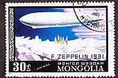 Graf Zeppelin Flight to the North Pole, 1931, canceled Mongolian Air Mail Postage Stamp