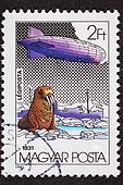 Polar flight of the Graf Zeppelin in 1931.   Cancelled Hungarian Stamp