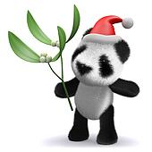 3d Baby panda bear with mistletoe and Santa hat