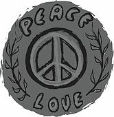 doodle icon grunge Peace and Love