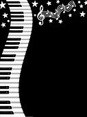 Wavy Piano Keyboard Black and White Background