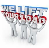 We Lift Your Load - People Holding Words