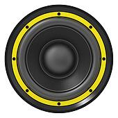 3d illustration of yellow audio speaker
