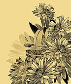 Floral background with chrysanthemum flowers. Vector illustratio