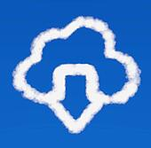 white downloads arrow from cloud icon on a blue background