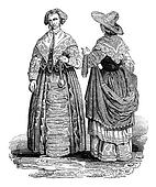 Costumes of the reign of Charles I, vintage engraving.