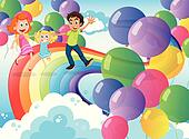 A happy family playing with the rainbow and the floating balloon
