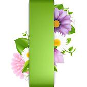Green Background With Summer Flowers