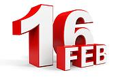 February 16. 3d text on white background.