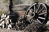 Woodpiles with Wagon Wheel