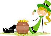 Girl Sitting Beside a Pot of Gold