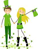 Couple in Saint Patrick's Day Costumes