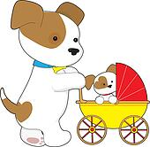 Cute Puppy Baby Carriage