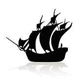 pirate ship black on white backroun