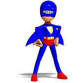 funny cartoon super hero. 3D rendering with clipping path and shadow over white