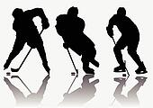 Ice hockey players silhouette