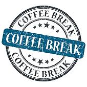 Coffee break blue round grungy stamp isolated on white background