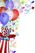 Uncle Sam Hat with Fireworks and Balloons