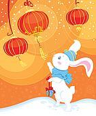 white rabbit and Chinese lanterns