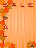 Fall  Sale Sign with Maple Tree Leaves and Snails