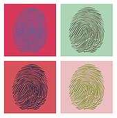 Four fingerprints in Warhol style illustration