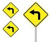 Turn left traffic sign on white background