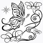 black butterfly with floral