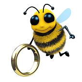 3d Bee with gold ring