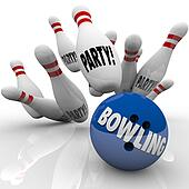Bowling Party Ball Strikes Pins Fun Event Celebration