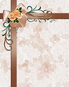 Roses and ribbons floral background
