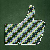 Social network concept: Thumb Up on chalkboard background