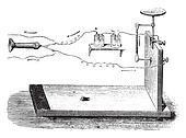 Microphone Hughes, vintage engraving.