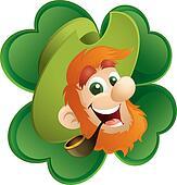 Fun Leprechaun And Four-Leaf Clover