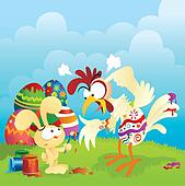 Angry chicken and Easter bunny cartoon. Lots of spacing for custom text. Great for greeting cards, banners and other print medias.