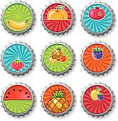 Fruity bottle caps - vector set