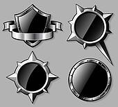 Set of steel glossy shields and compass roses