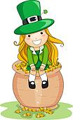 Girl Sitting on a Pot of Gold
