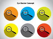 human eye test protection magnifying glass colorful icon set