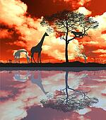 African savanna before the storm