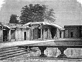Sultan Palace, Fatehpur Sikri, vintage engraving.